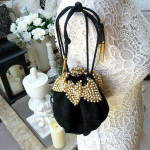 VINTAGE Black KNIT & Pearls DRAWSTRING Bag LOVELY